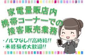 携帯販売(駅チカ家電量販店/週5シフト/時給1400円・日払いok)